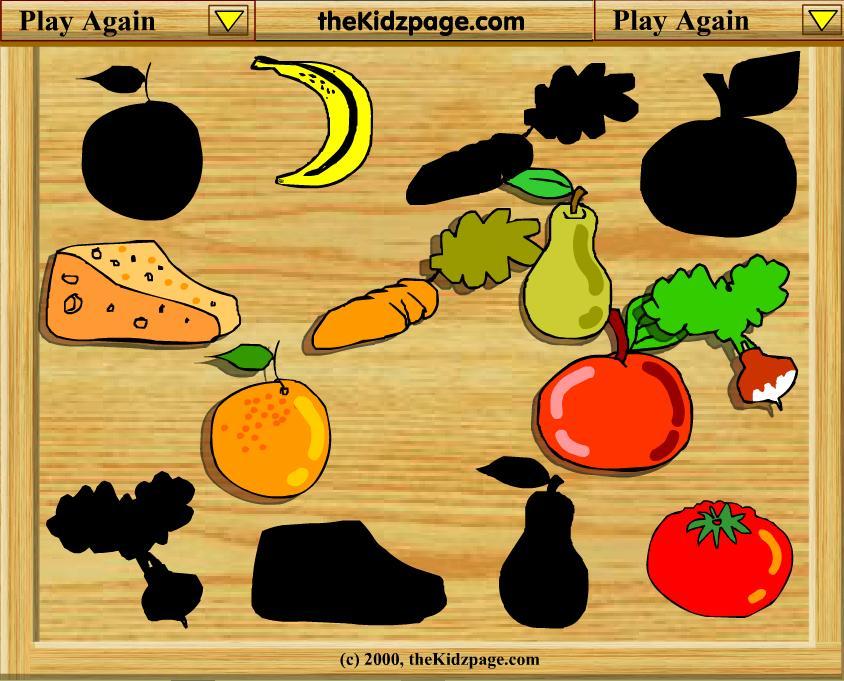 Разложи овощи и фрукты