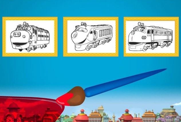 Раскраска паровозиков Чаггингтон