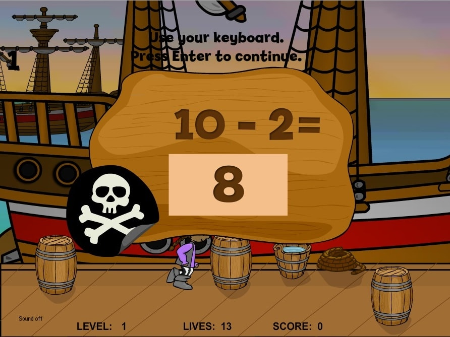 Вычитание маленькая пиратка