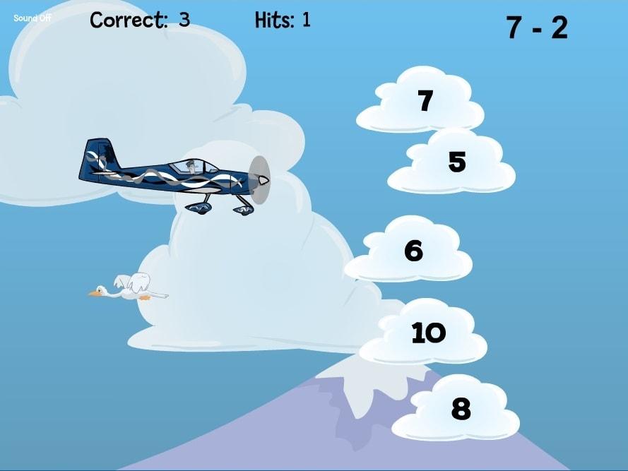 Вычитание полет самолета