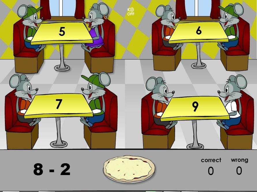 Вычитание: кормим мышей пиццей