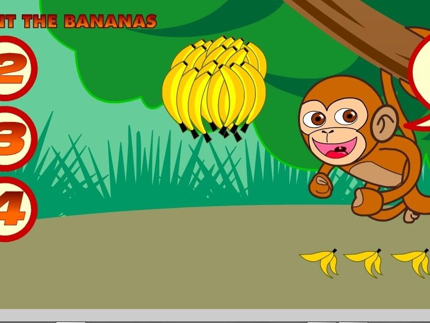 Обезьянка подсчитывает бананы