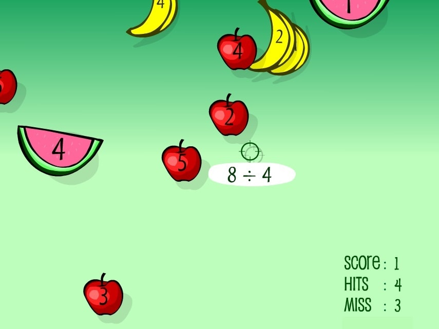 Деление стрельба по фруктам