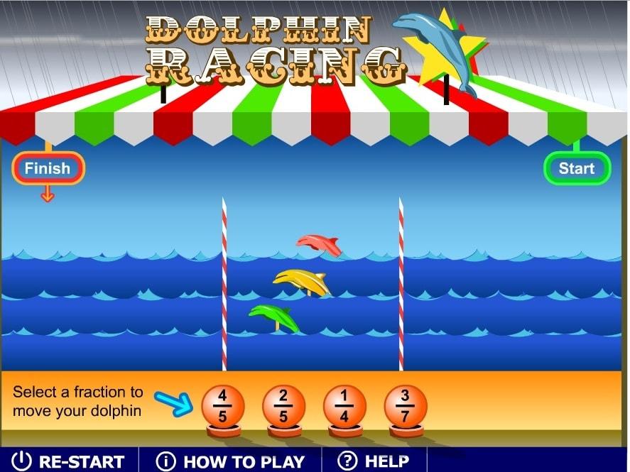 Дроби Соревнование дельфинов