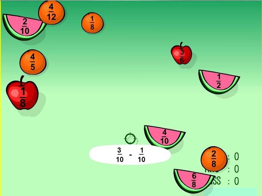 Вычитание дроби. Стрельба по фруктам
