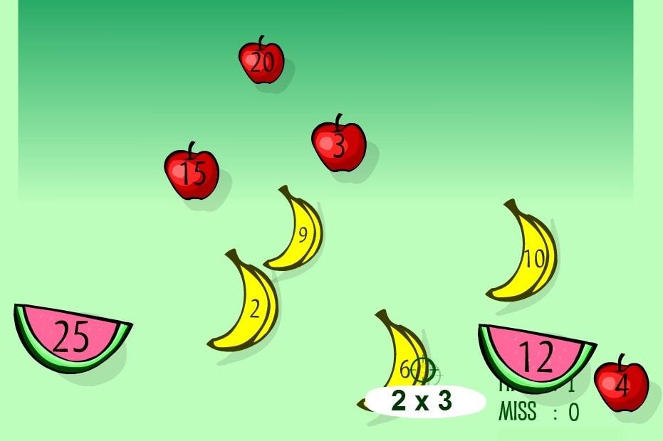Умножение срельба по фруктам