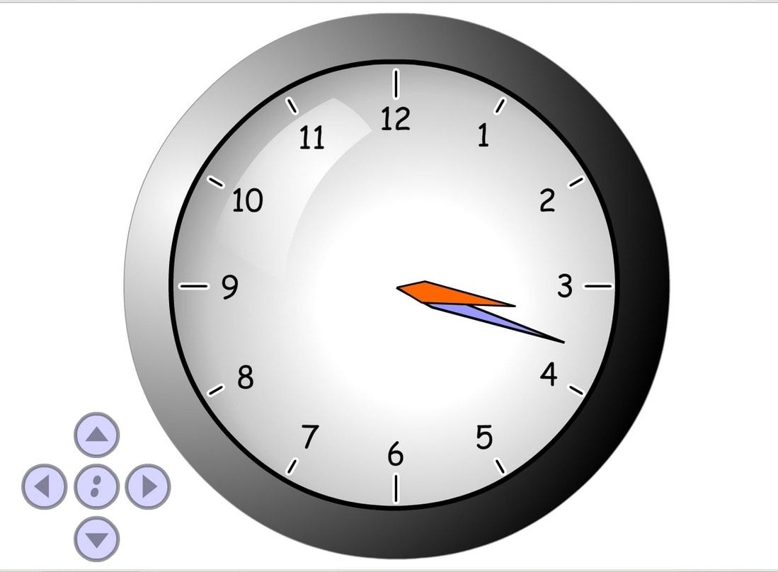 Показать на часах время