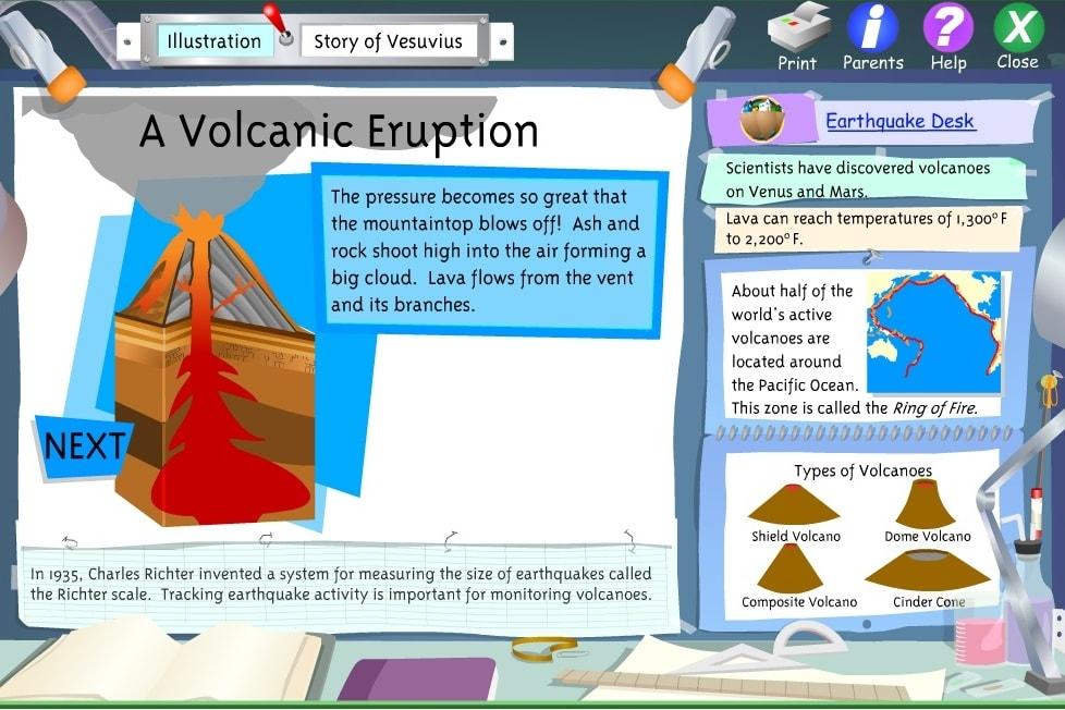 Стенд извержения вулкана