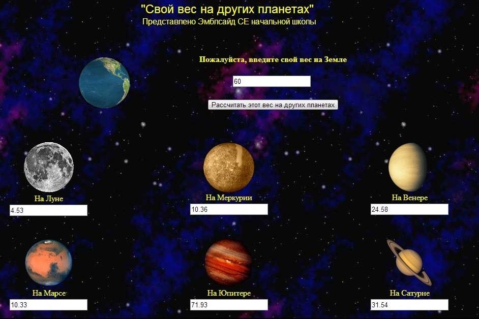 Свой вес на разных планетах