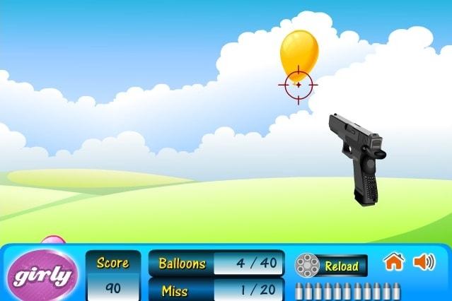 Стрельба из пистолета по шарикам