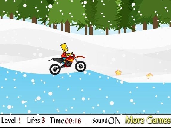 Барт Симпсон на мотоцикле зимой