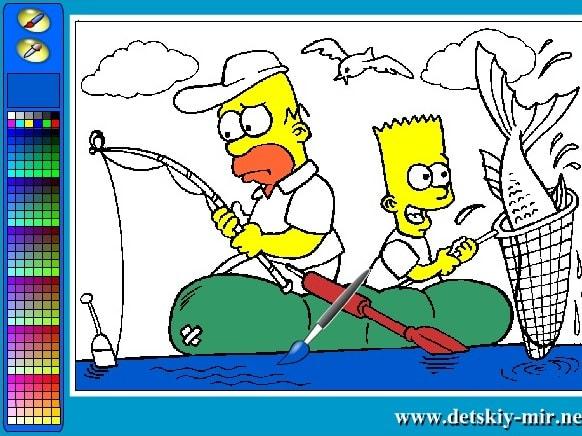 Симпсоны на рыбалке раскраска