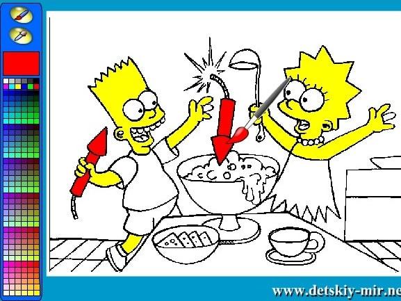 Лиза и Барт готовят еду раскраска