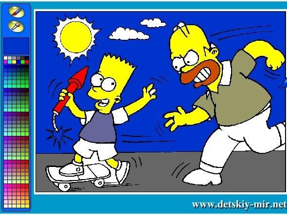 Раскраска семейка Симпсон