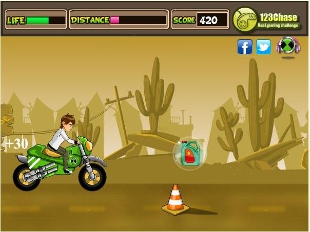 Бен 10 гонки на мотоцикле