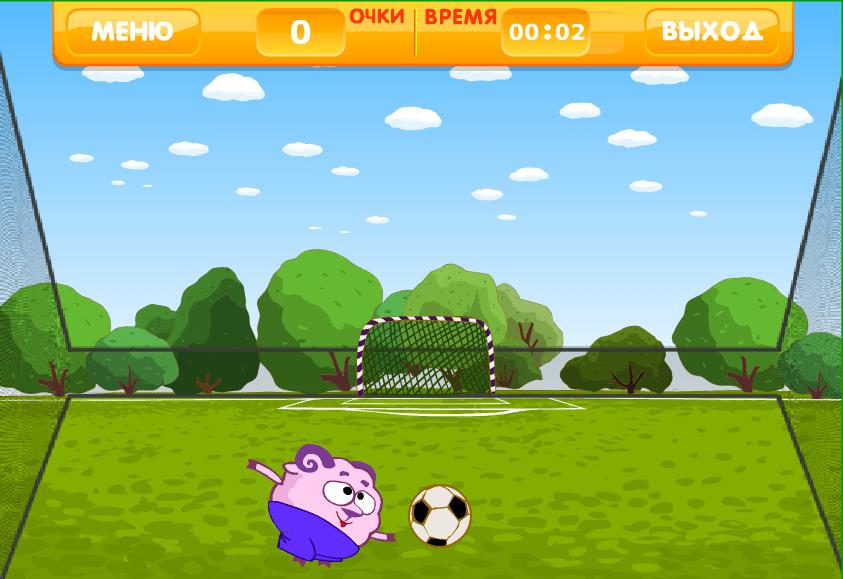 Смешарик набивает головой мяч онлайн